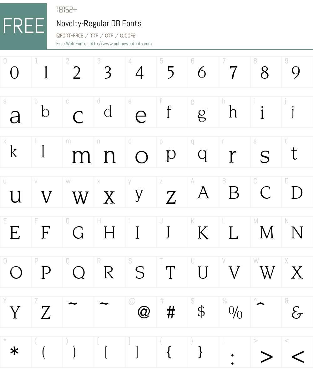Novelty DB Font Screenshots