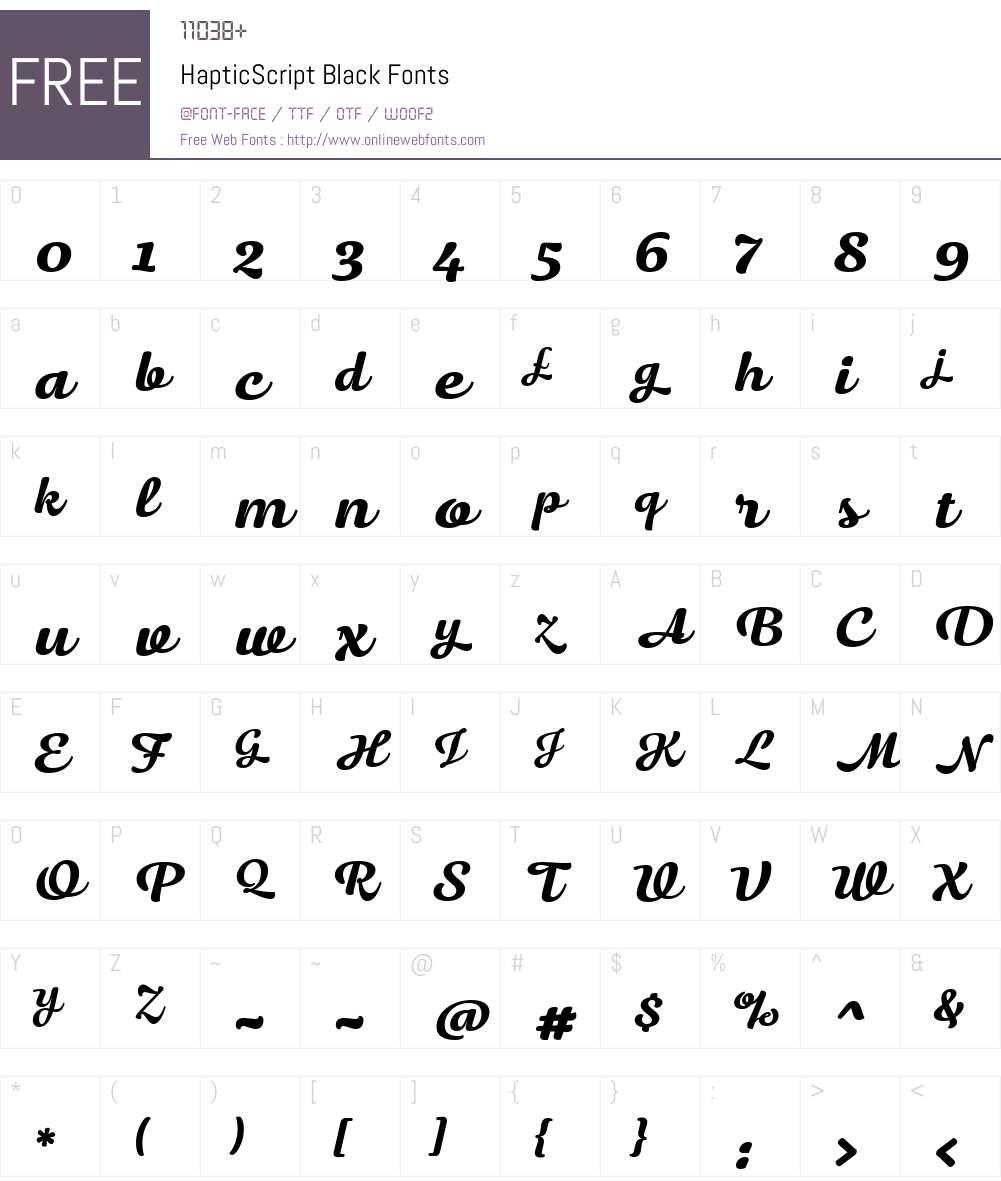 HapticScript-Black Font Screenshots
