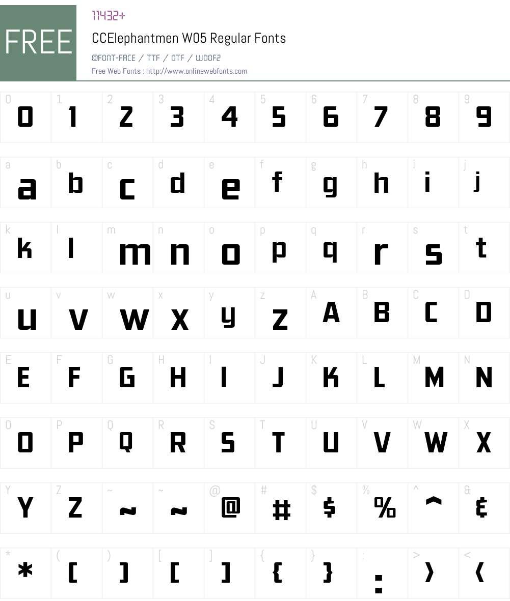 CCElephantmenW05-Regular Font Screenshots