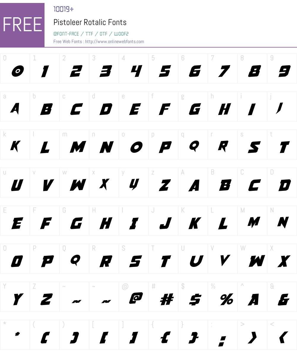 Pistoleer Rotalic Font Screenshots