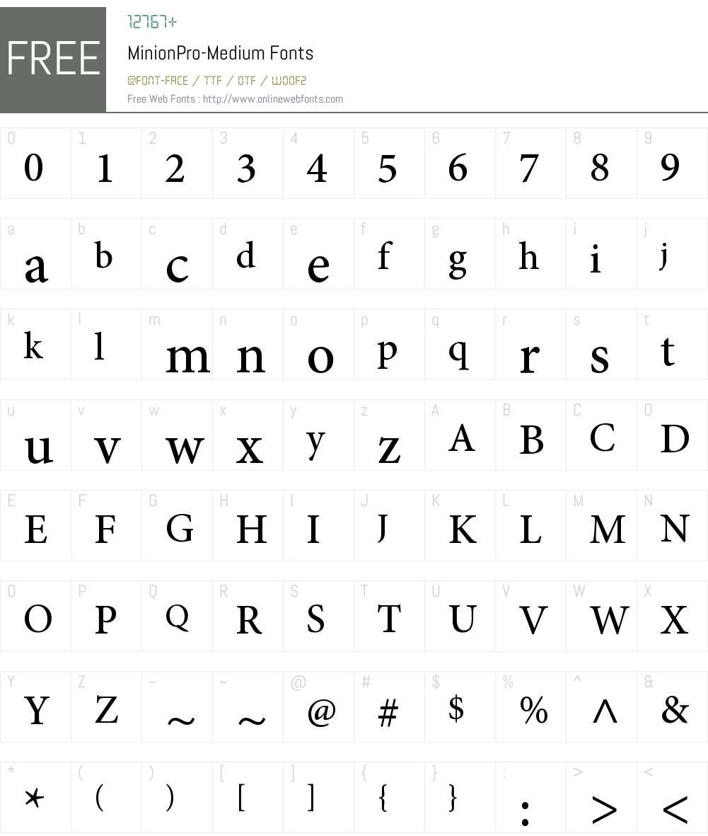 Minion Pro Med Font Screenshots
