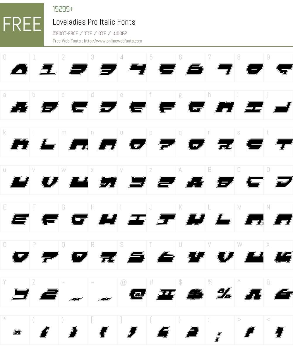 Loveladies Pro Italic Font Screenshots