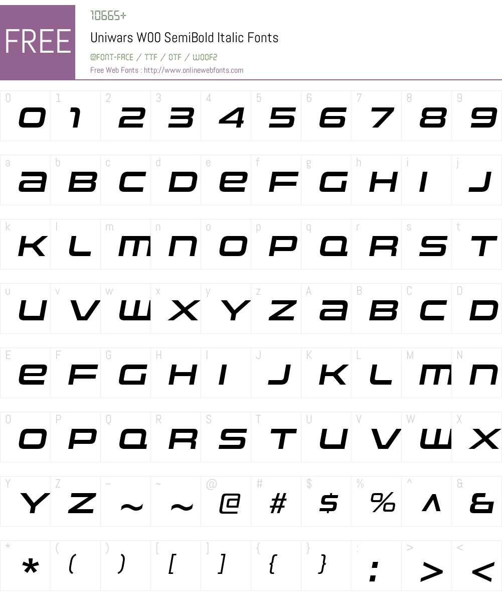 UniwarsW00-SemiBoldItalic Font Screenshots