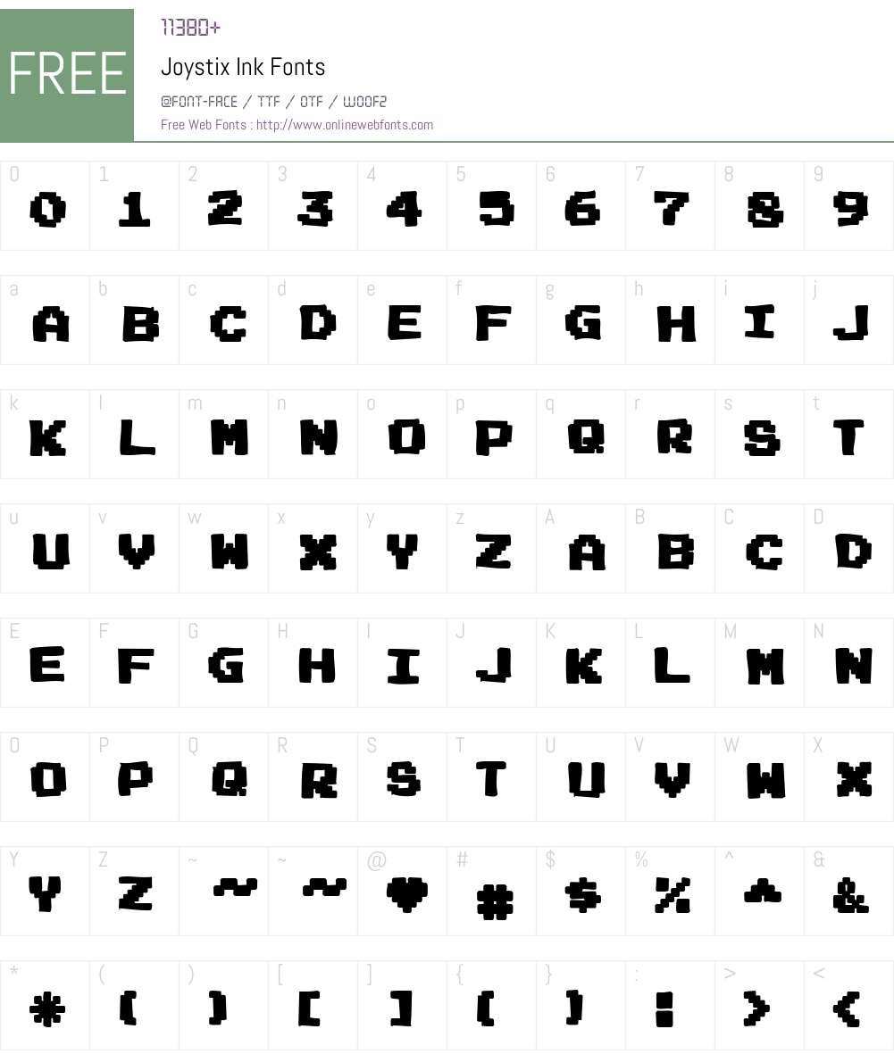 Joystix Ink Font Screenshots
