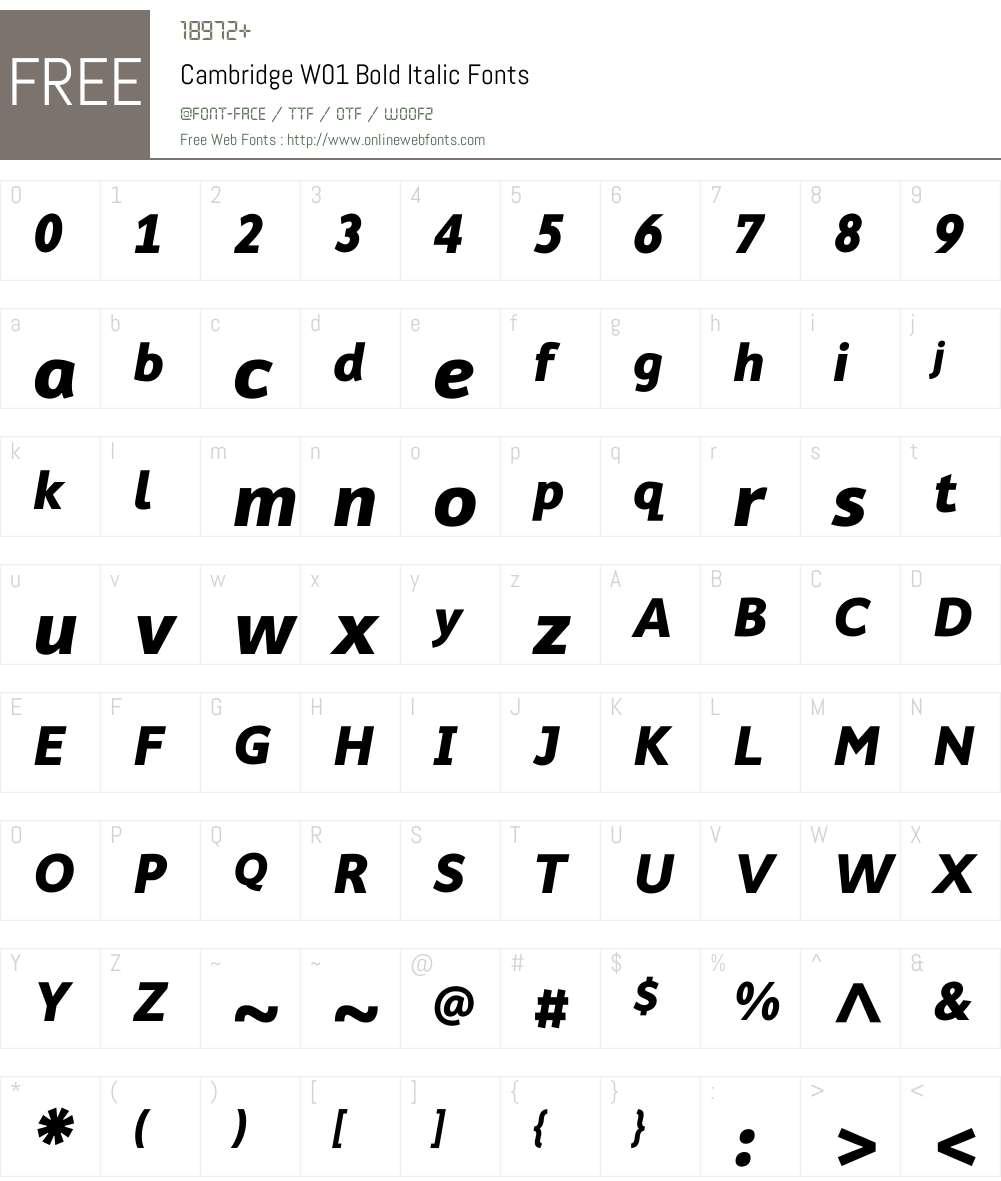 CambridgeW01-BoldItalic Font Screenshots