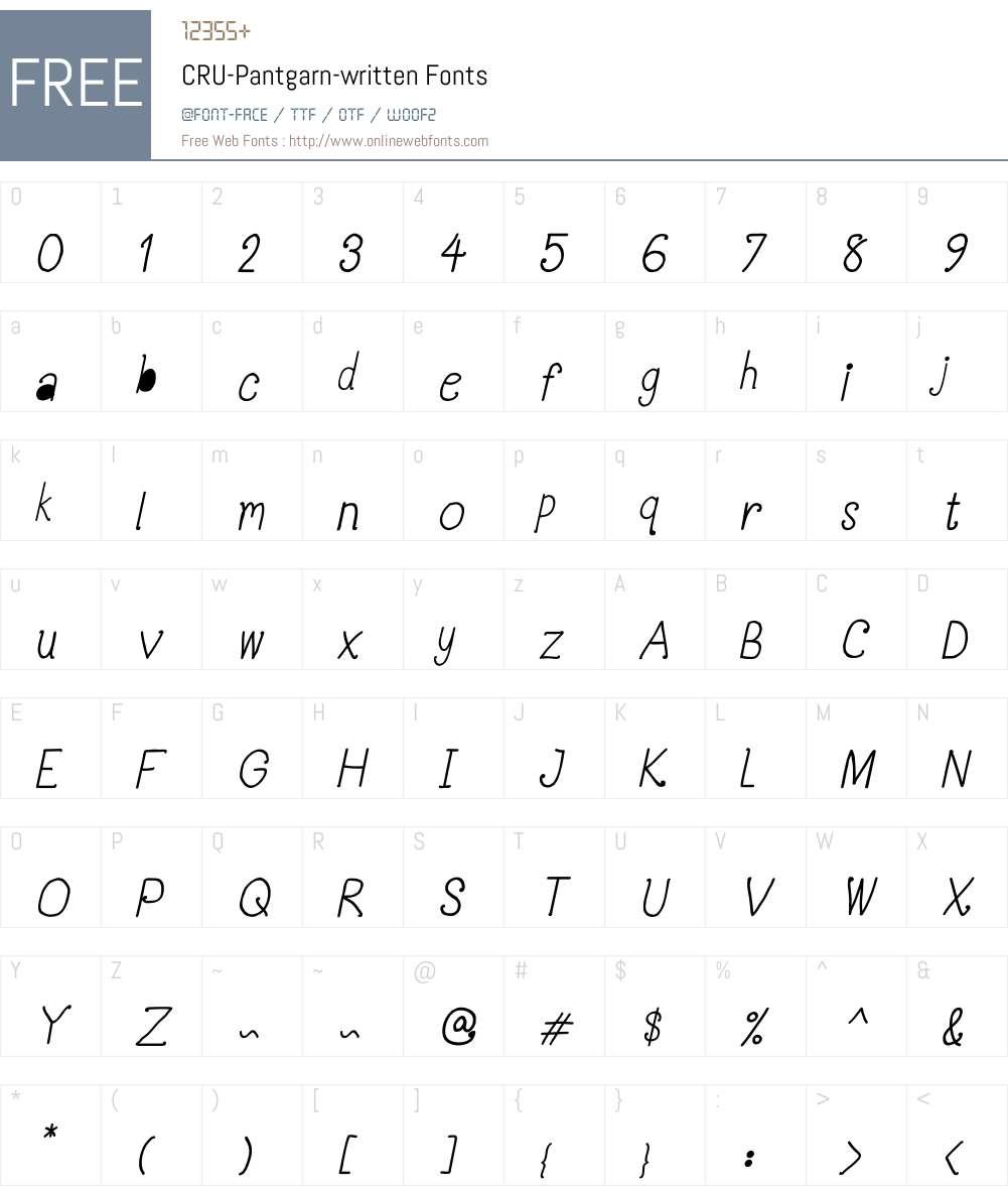 CRU-Pantgarn-written Font Screenshots
