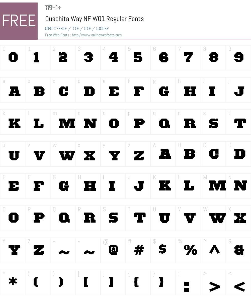 OuachitaWayNFW01-Regular Font Screenshots