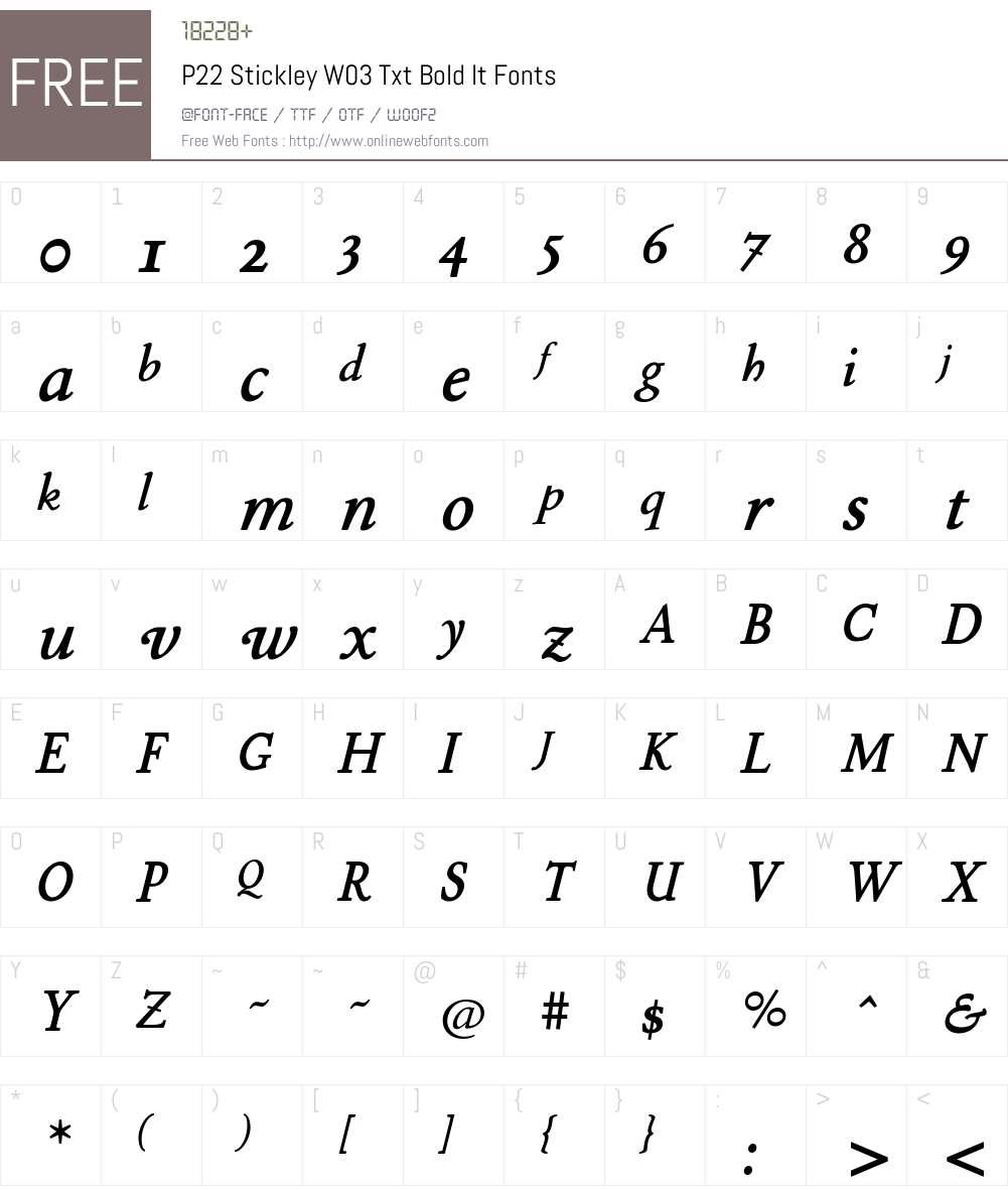 P22 Stickley Pro Font Screenshots
