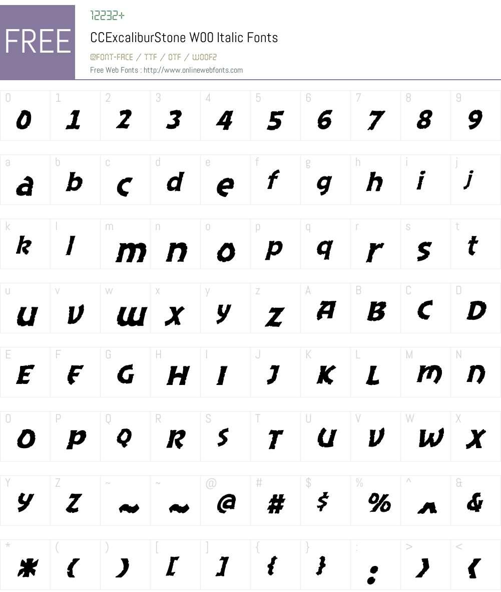 CCExcaliburStoneW00-Italic Font Screenshots