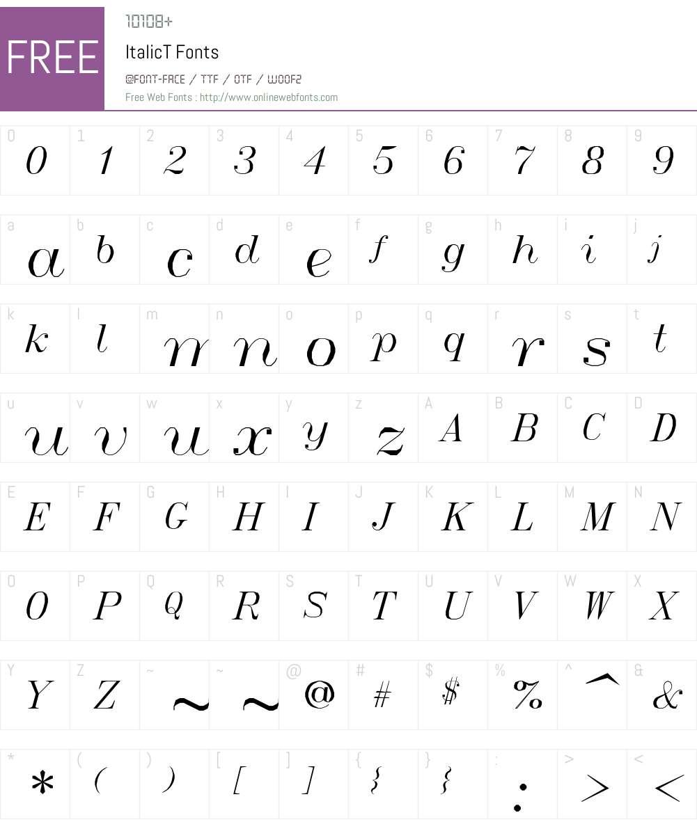 ItalicT Font Screenshots