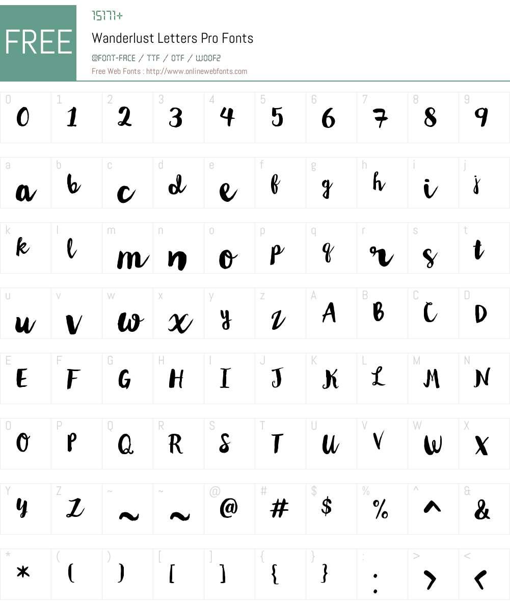 WanderlustLettersPro-Regular Font Screenshots