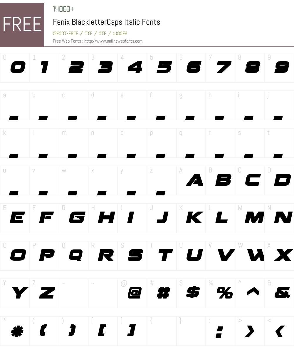 Fenix BlackletterCaps Font Screenshots