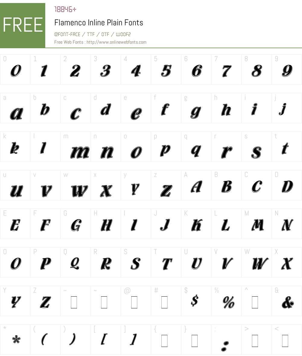 Flamenco Inline Font Screenshots