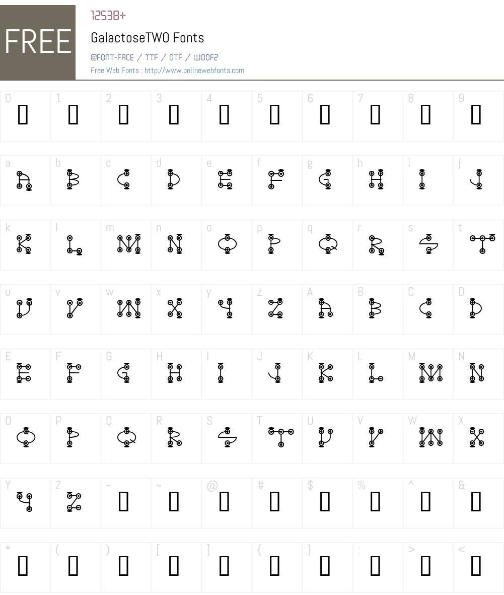 GalactoseTWO Font Screenshots