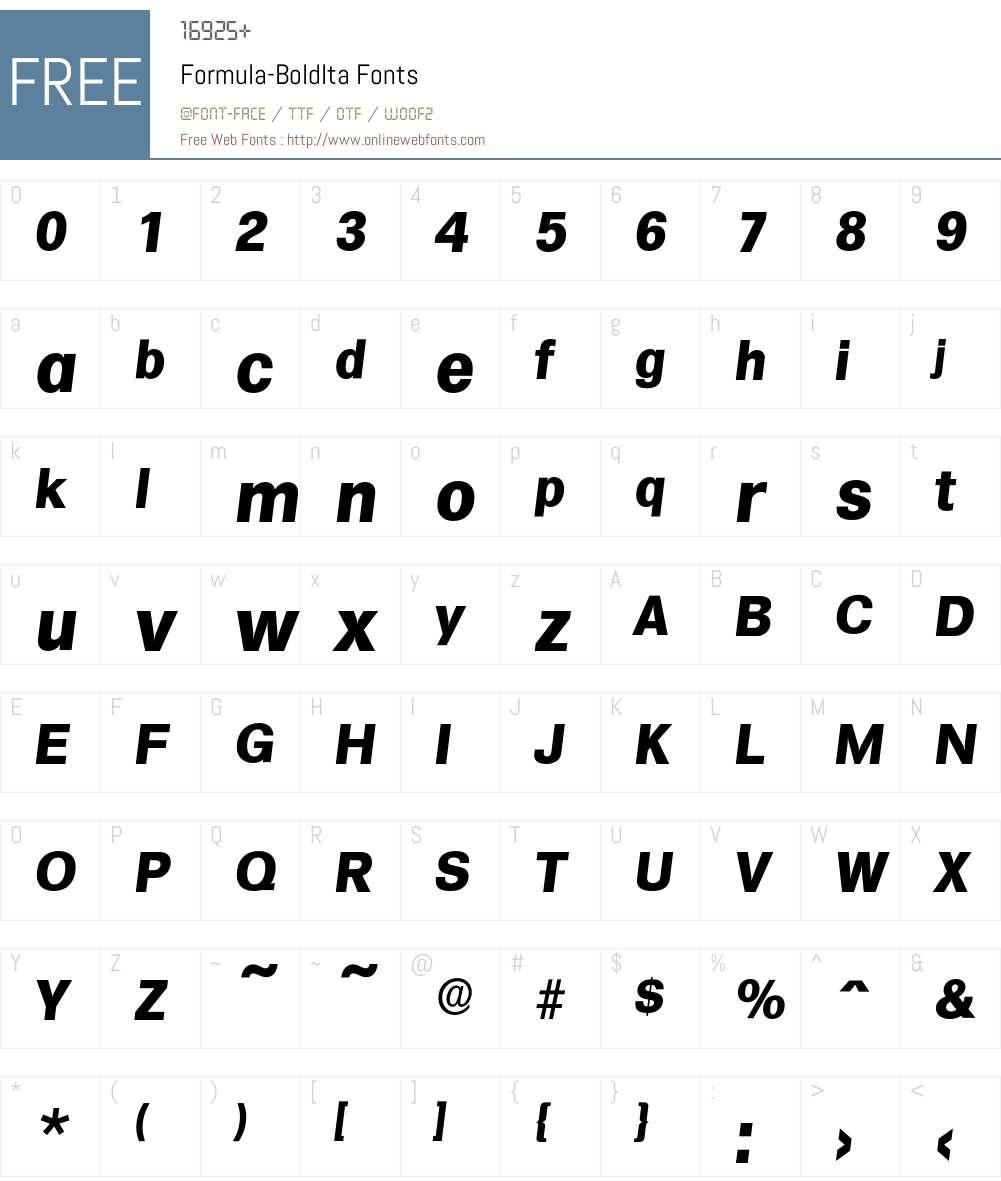 Formula-BoldIta Font Screenshots