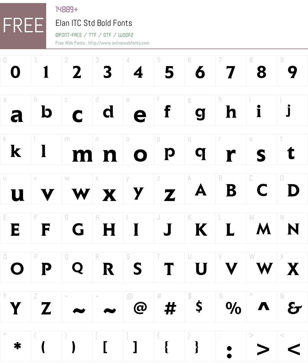 Elan ITC Std Font Screenshots