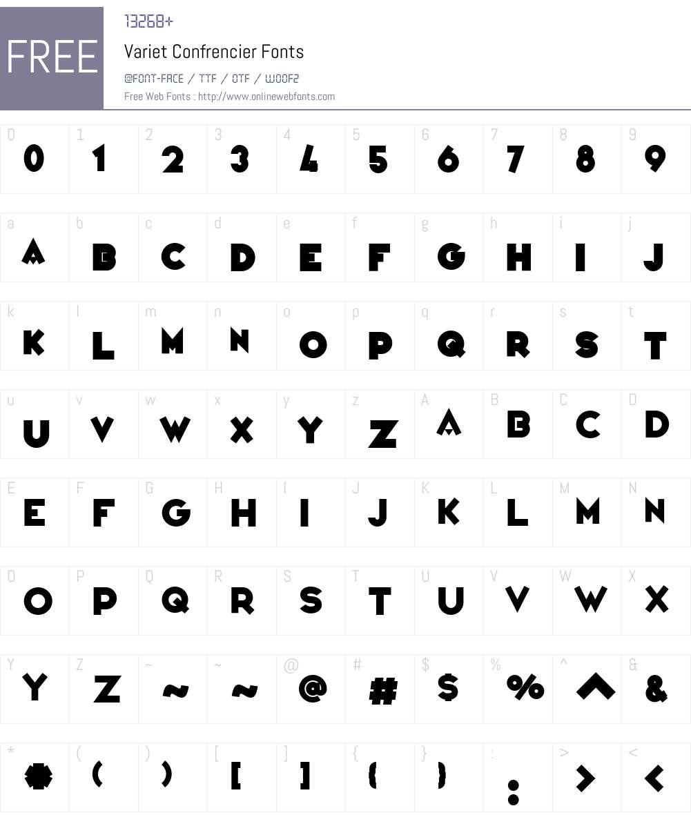 Variet Confrencier Font Screenshots