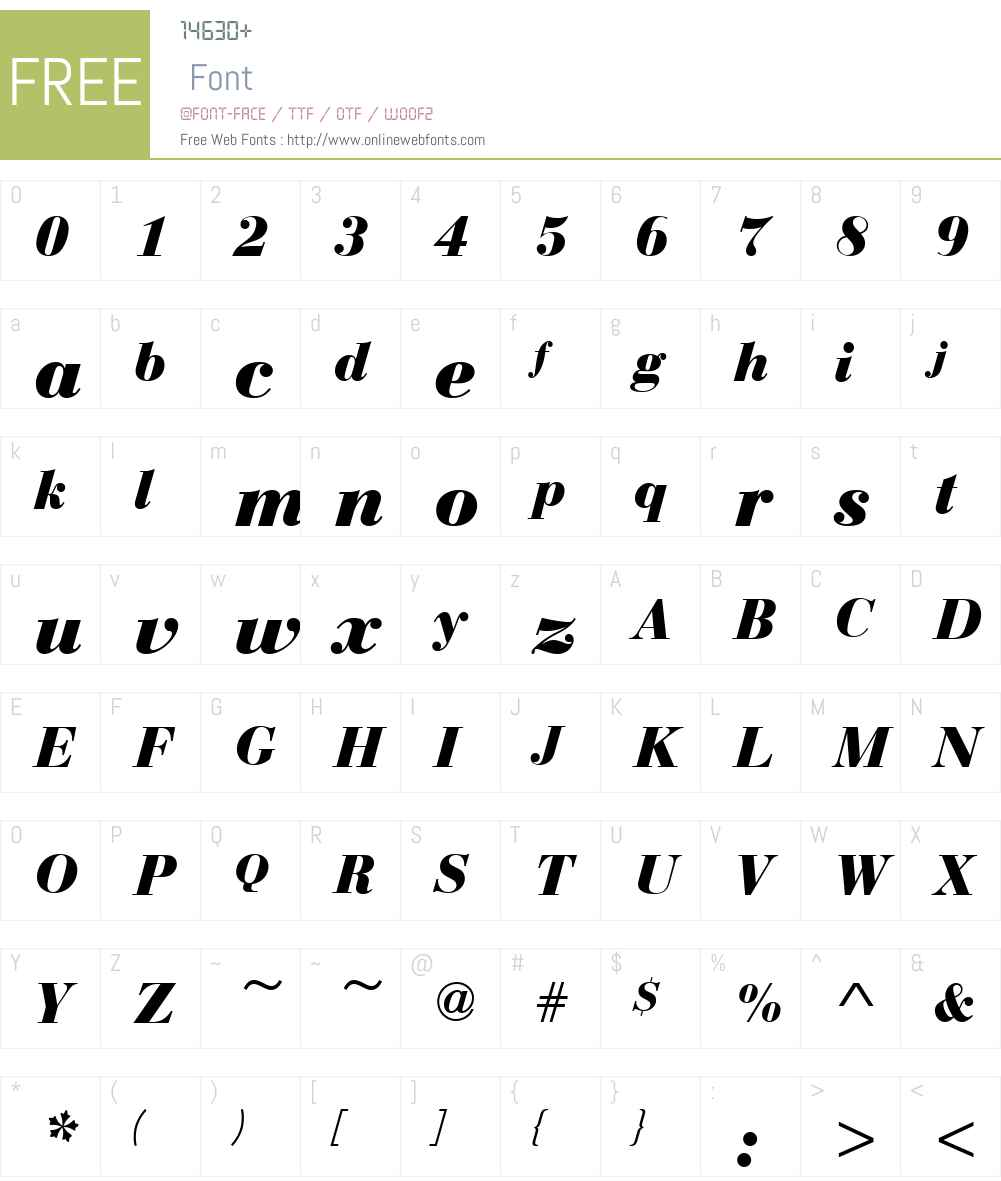 BauerBodoniW01-BoldItalic Font Screenshots