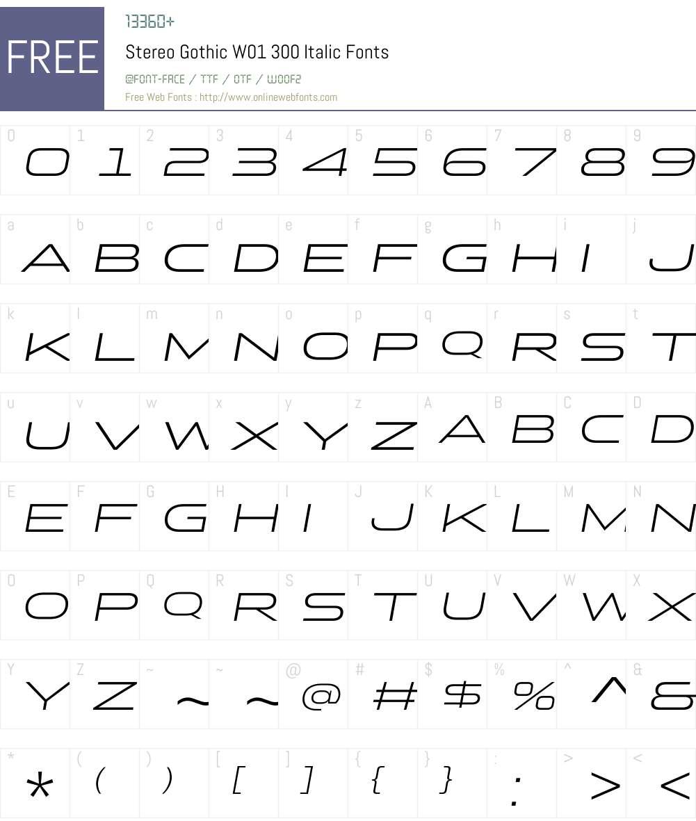 StereoGothicW01-300Italic Font Screenshots