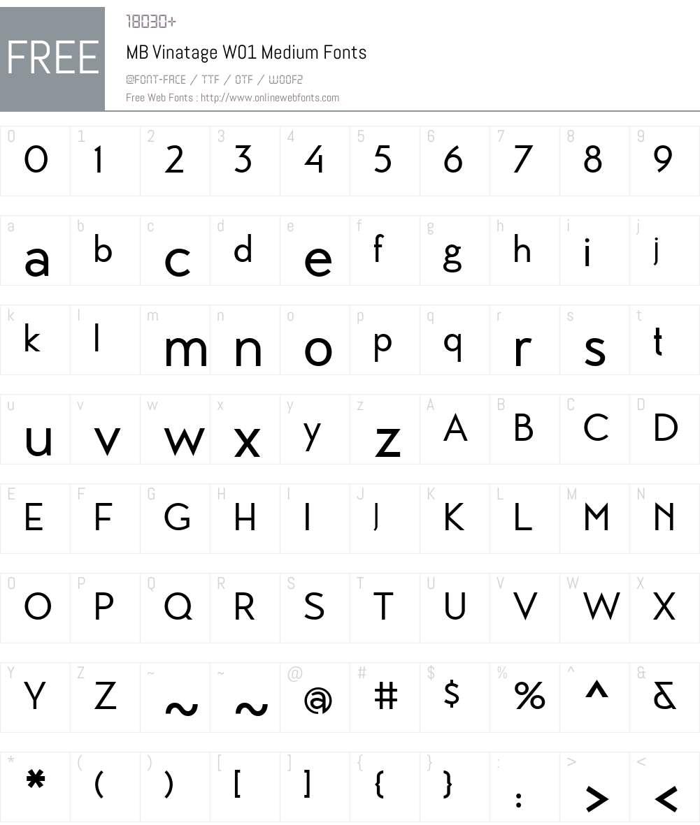 MBVinatageW01-Medium Font Screenshots