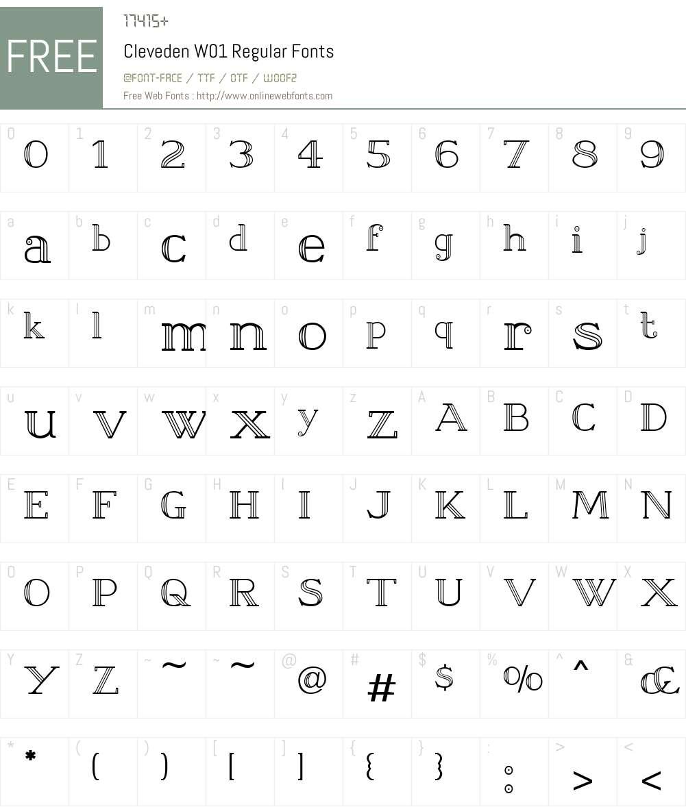 ClevedenW01-Regular Font Screenshots