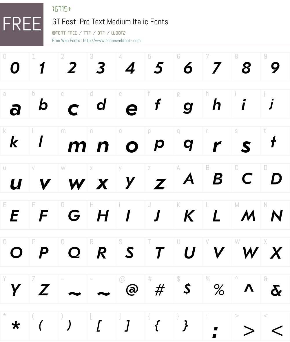 GT Eesti Pro Text Medium Font Screenshots