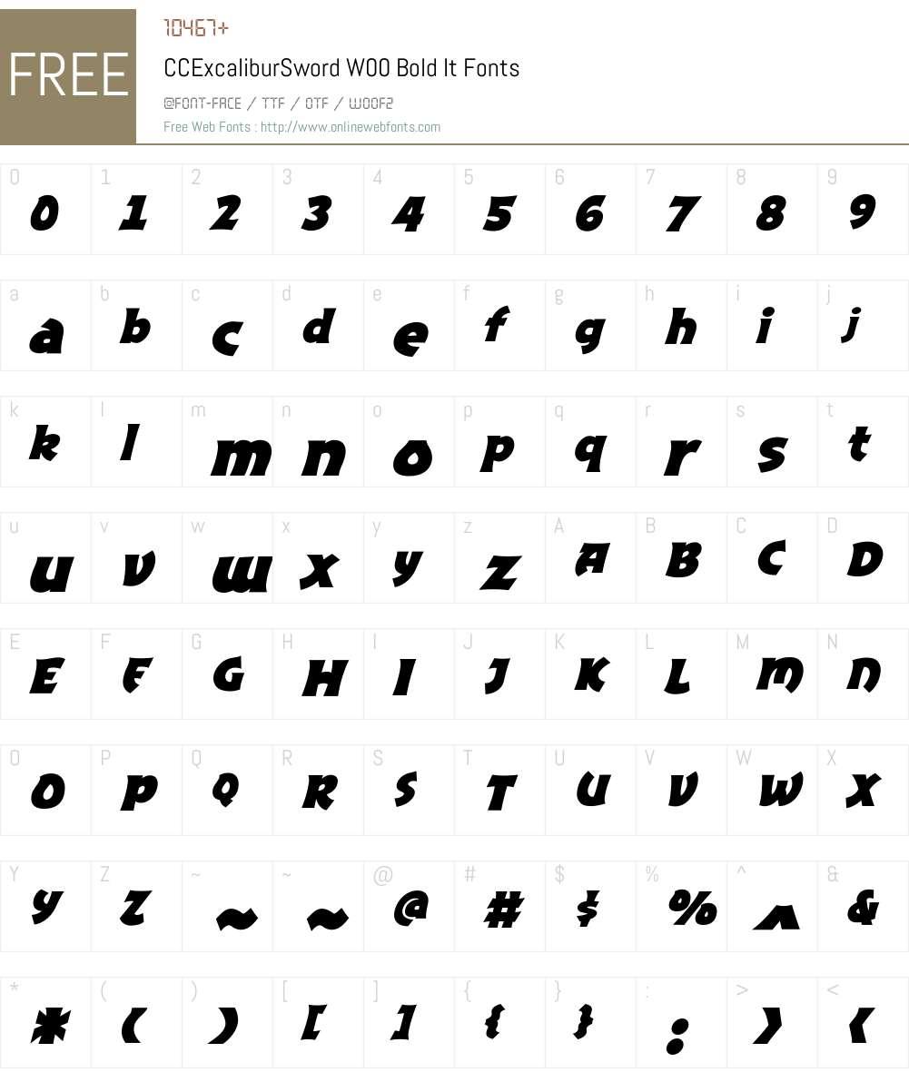 CCExcaliburSwordW00-BoldIt Font Screenshots