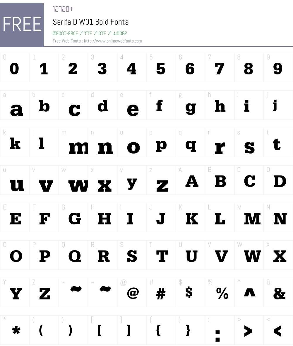 SerifaDW01-Bold Font Screenshots