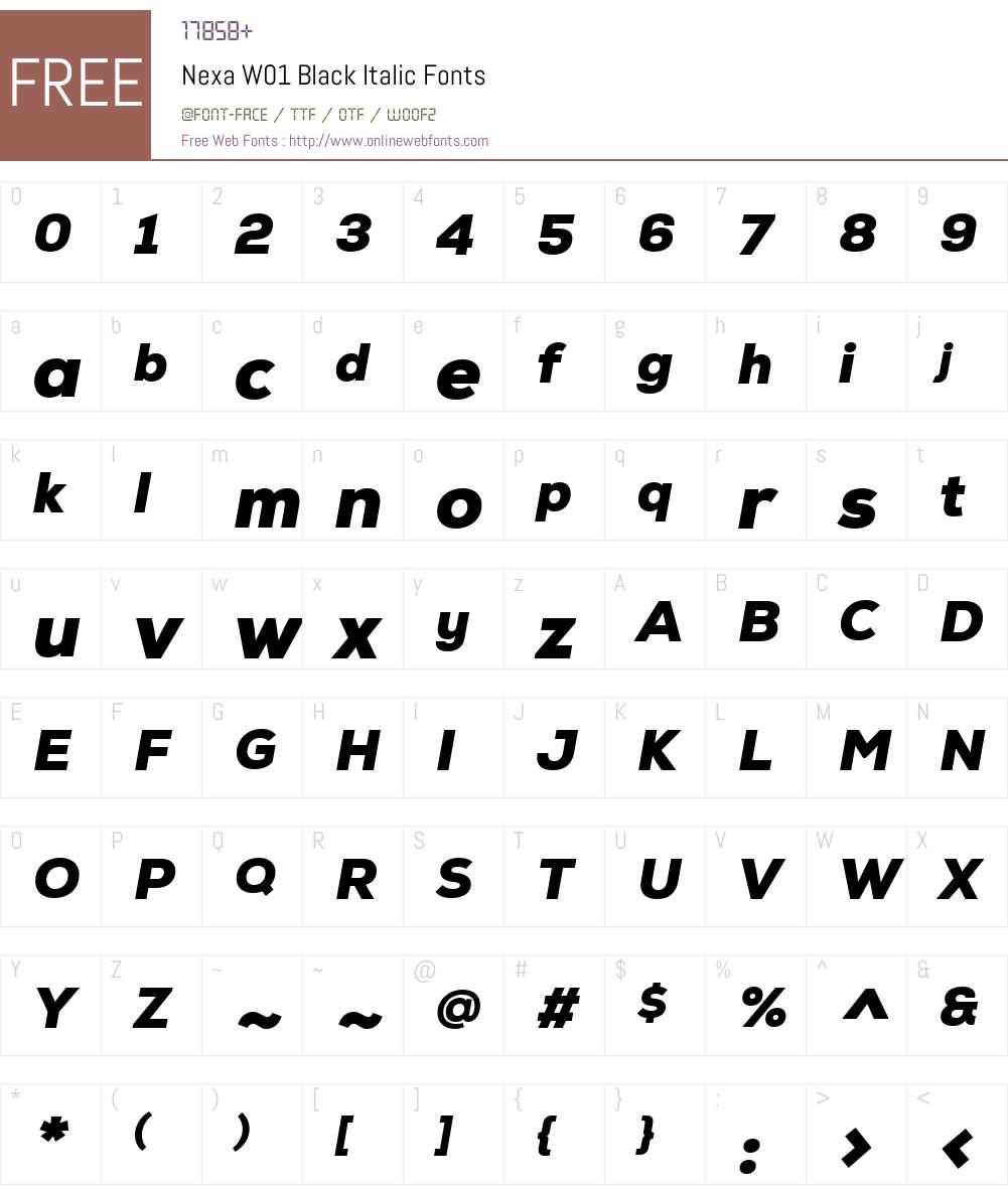 NexaW01-BlackItalic Font Screenshots