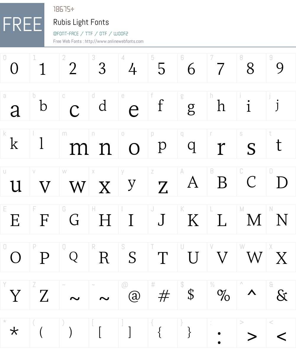 Rubis-Light Font Screenshots
