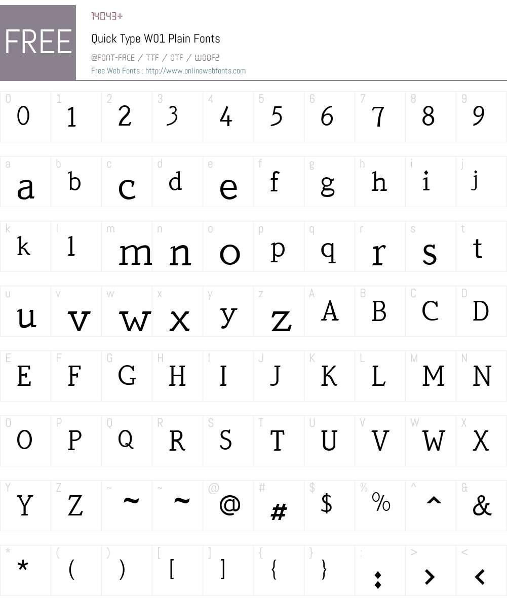 QuickTypeW01-Plain Font Screenshots