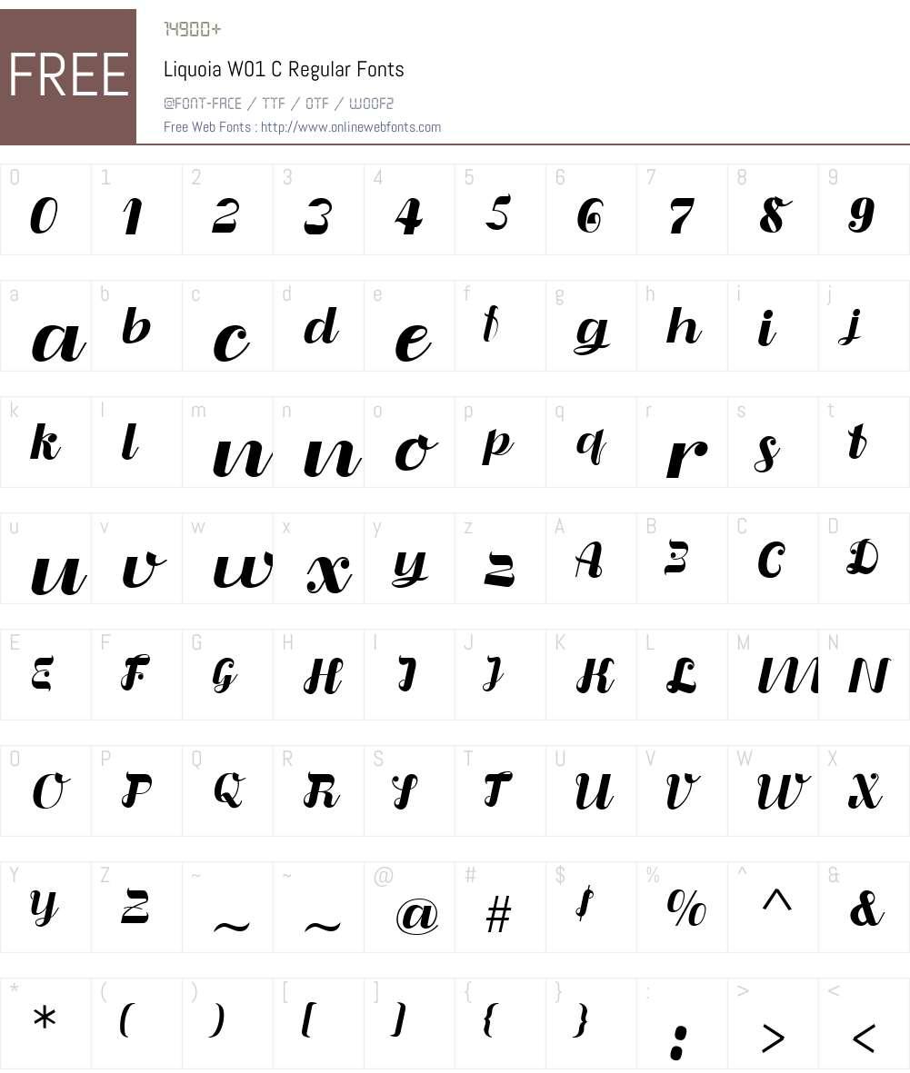 LiquoiaW01-CRegular Font Screenshots