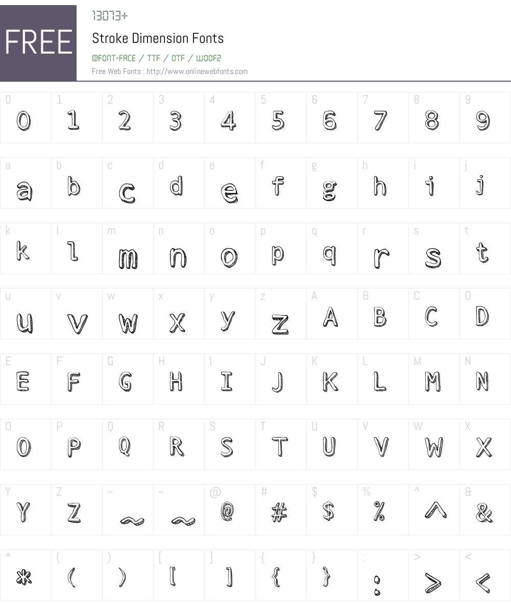 Stroke Dimension Font Screenshots