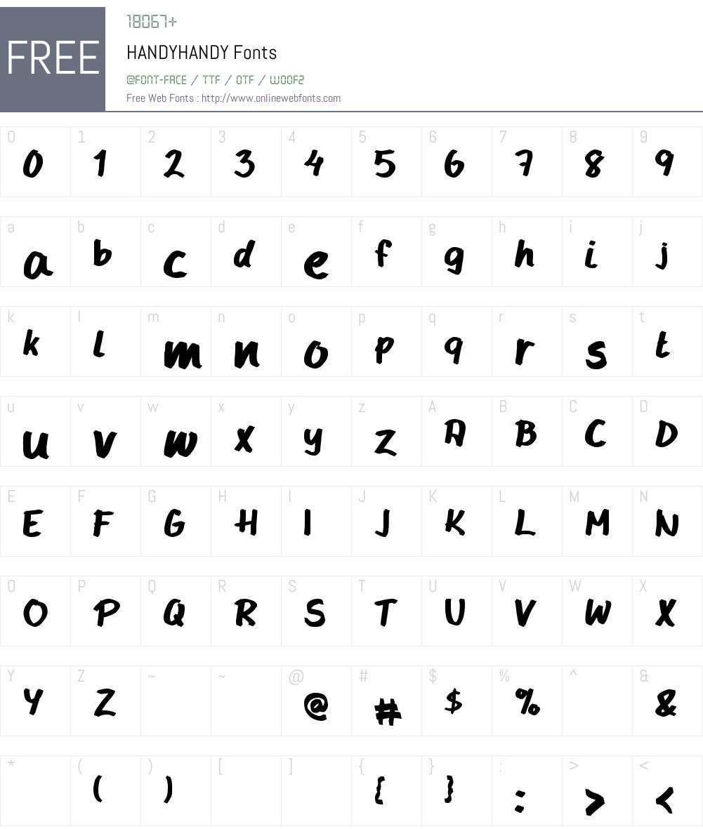 HANDYHANDY Font Screenshots