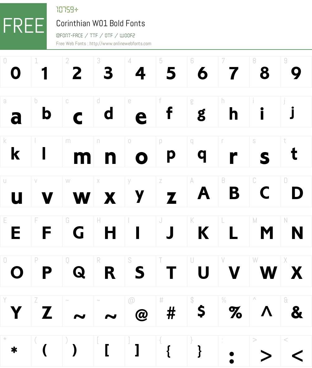 CorinthianW01-Bold Font Screenshots