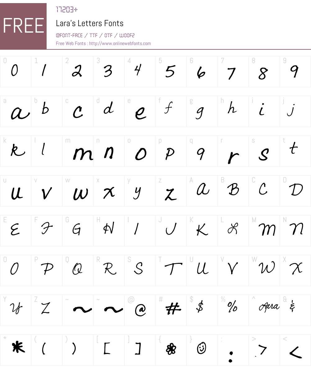Lara's Letters Font Screenshots