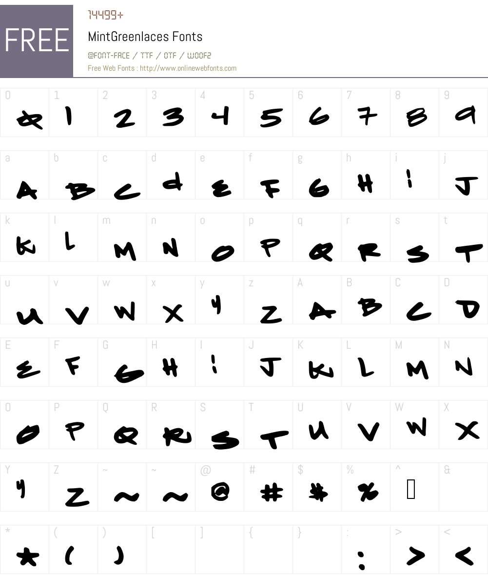 MintGreenlaces Font Screenshots