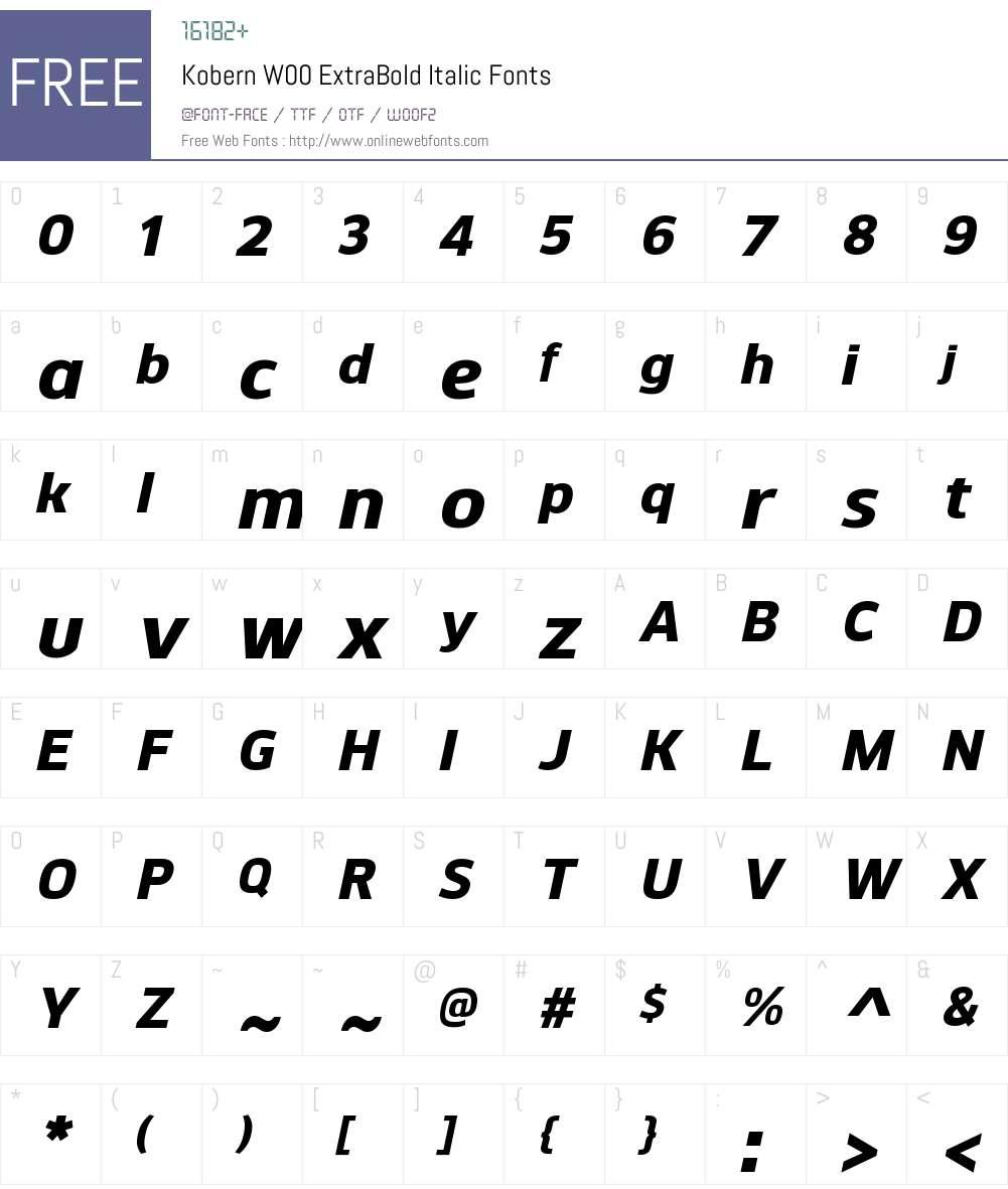 KobernW00-ExtraBoldItalic Font Screenshots