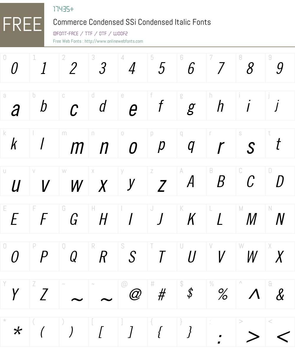 Commerce Condensed SSi Font Screenshots