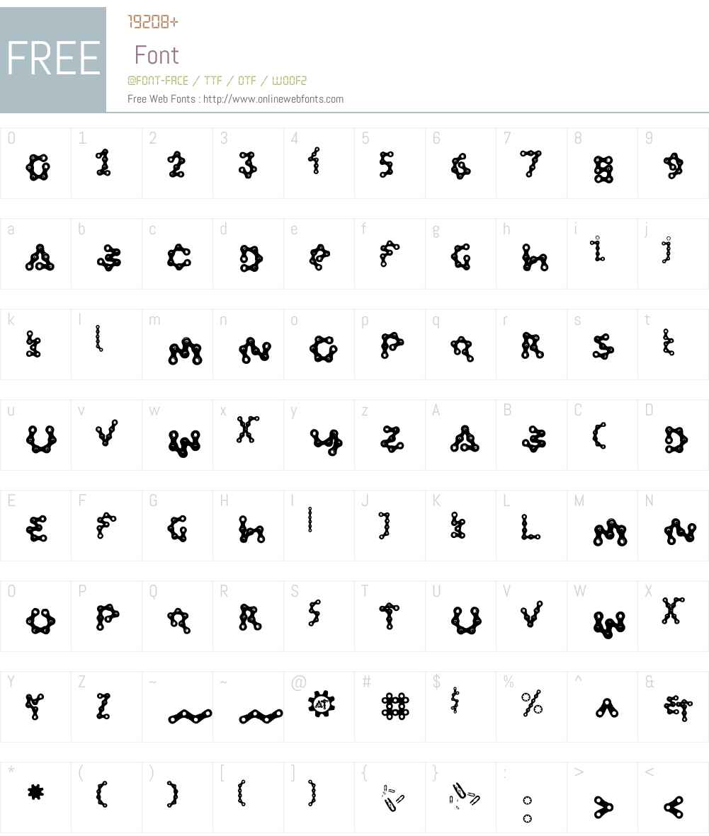 FiveLinkChainW00-Reg Font Screenshots