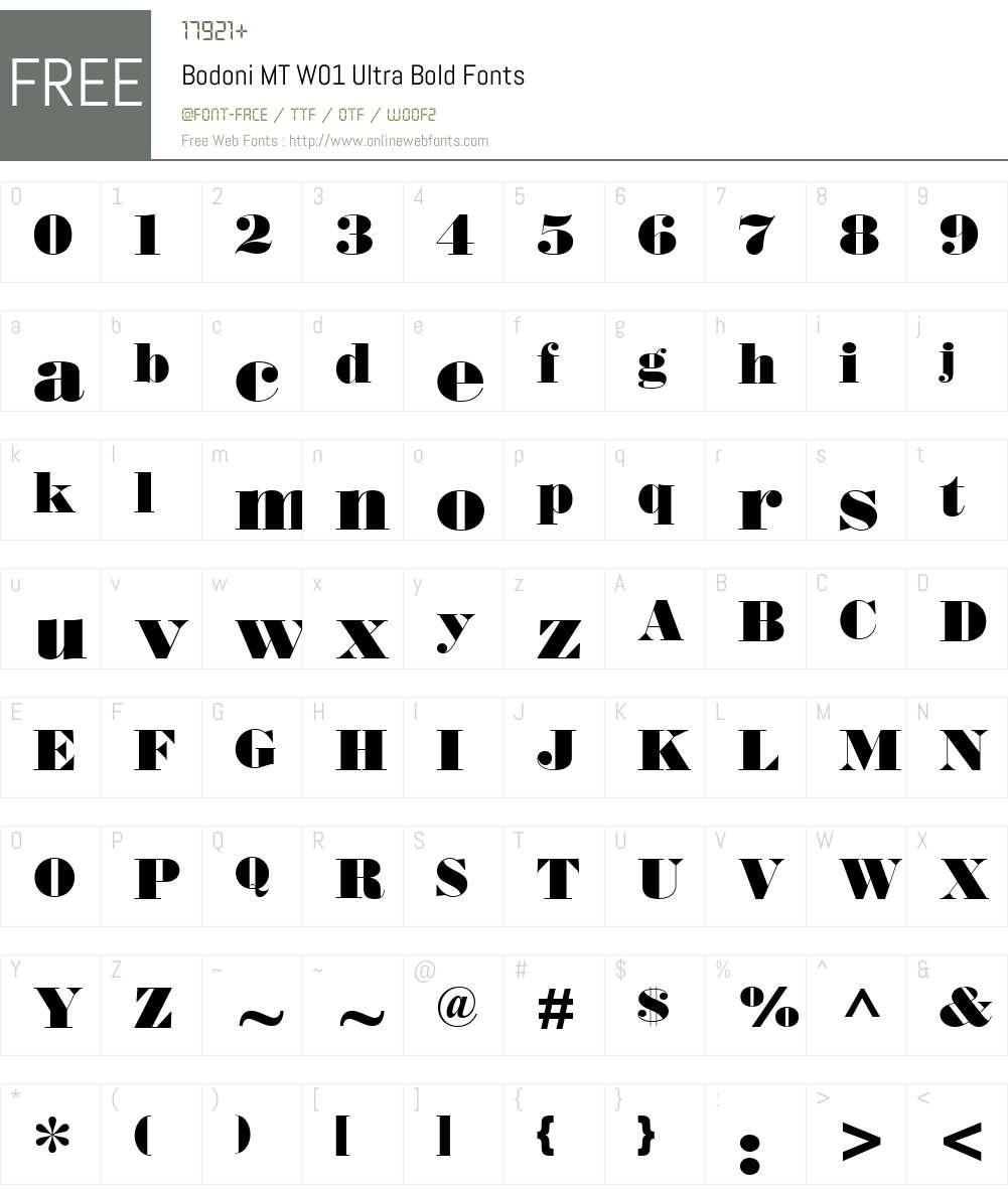BodoniMTW01-UltraBold Font Screenshots