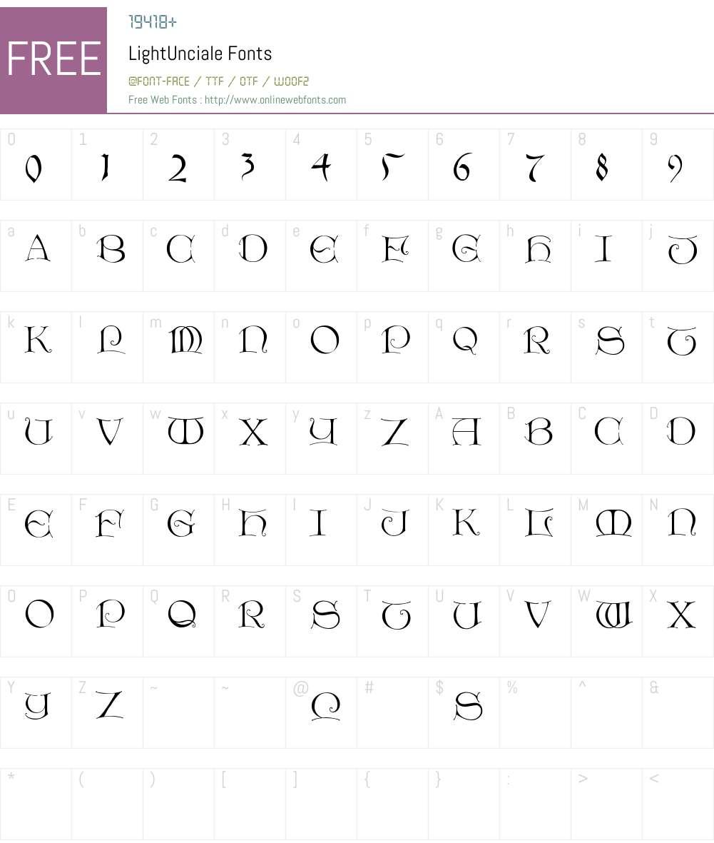LightUnciale Font Screenshots