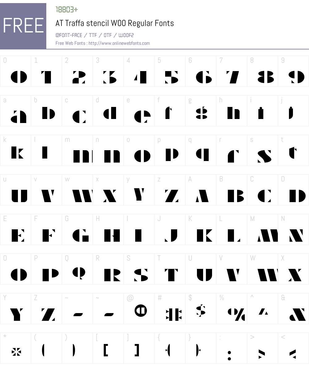 ATTraffastencilW00-Regular Font Screenshots