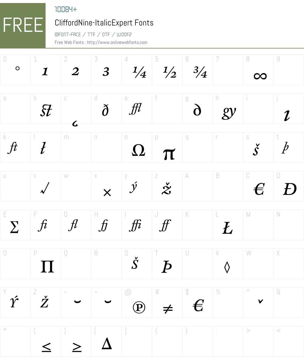 CliffordNine Font Screenshots