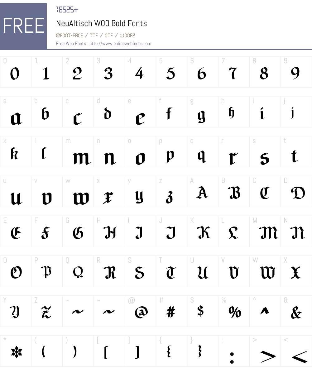 NeuAltischW00-Bold Font Screenshots