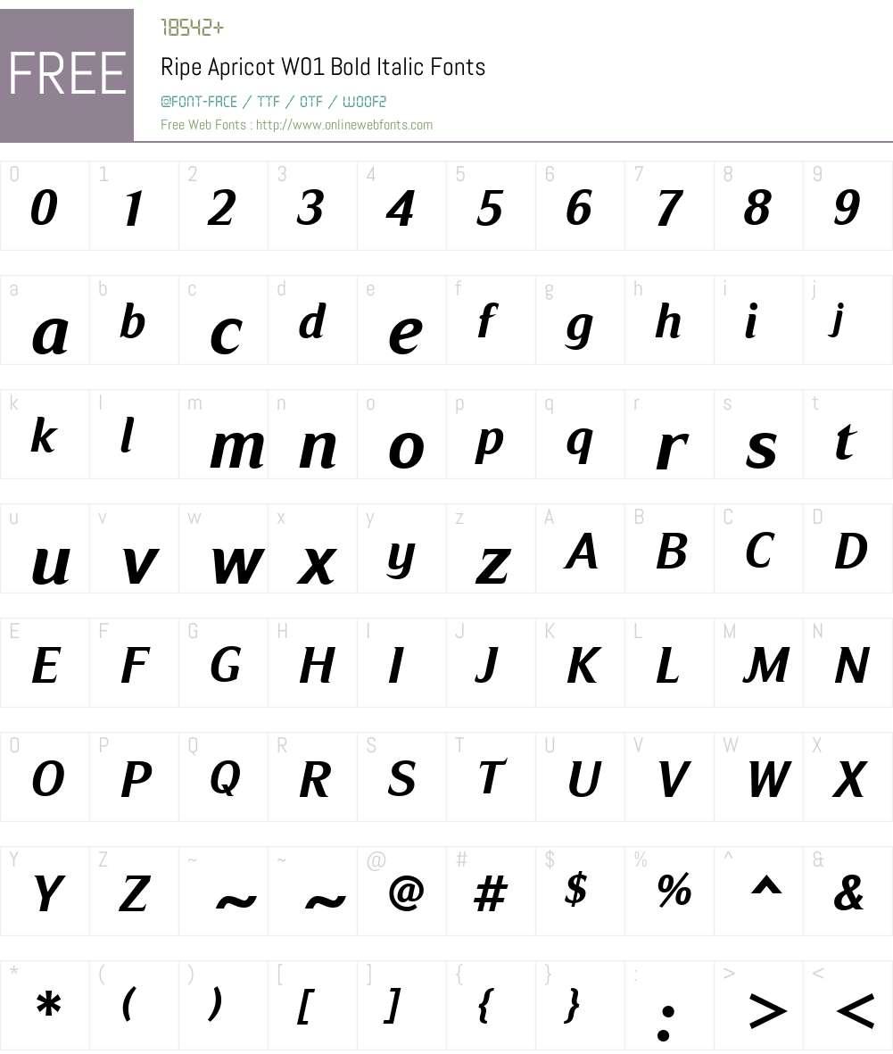 RipeApricotW01-BoldItalic Font Screenshots