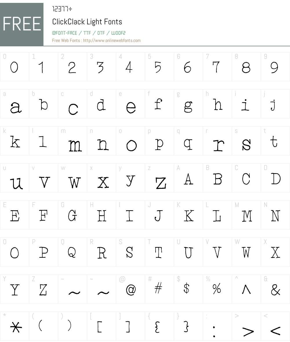 ClickClack Light Font Screenshots