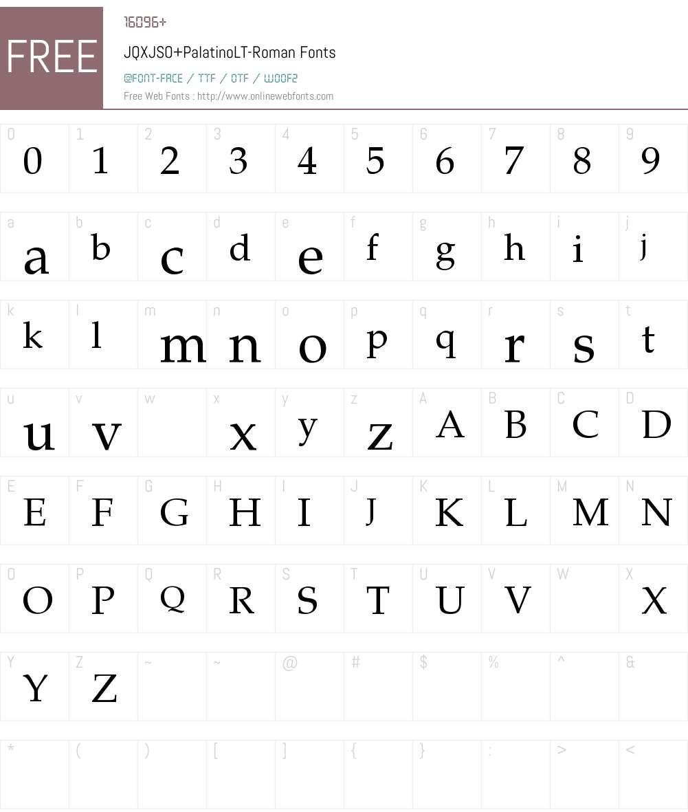 JQXJSO+PalatinoLT-Roman Font Screenshots