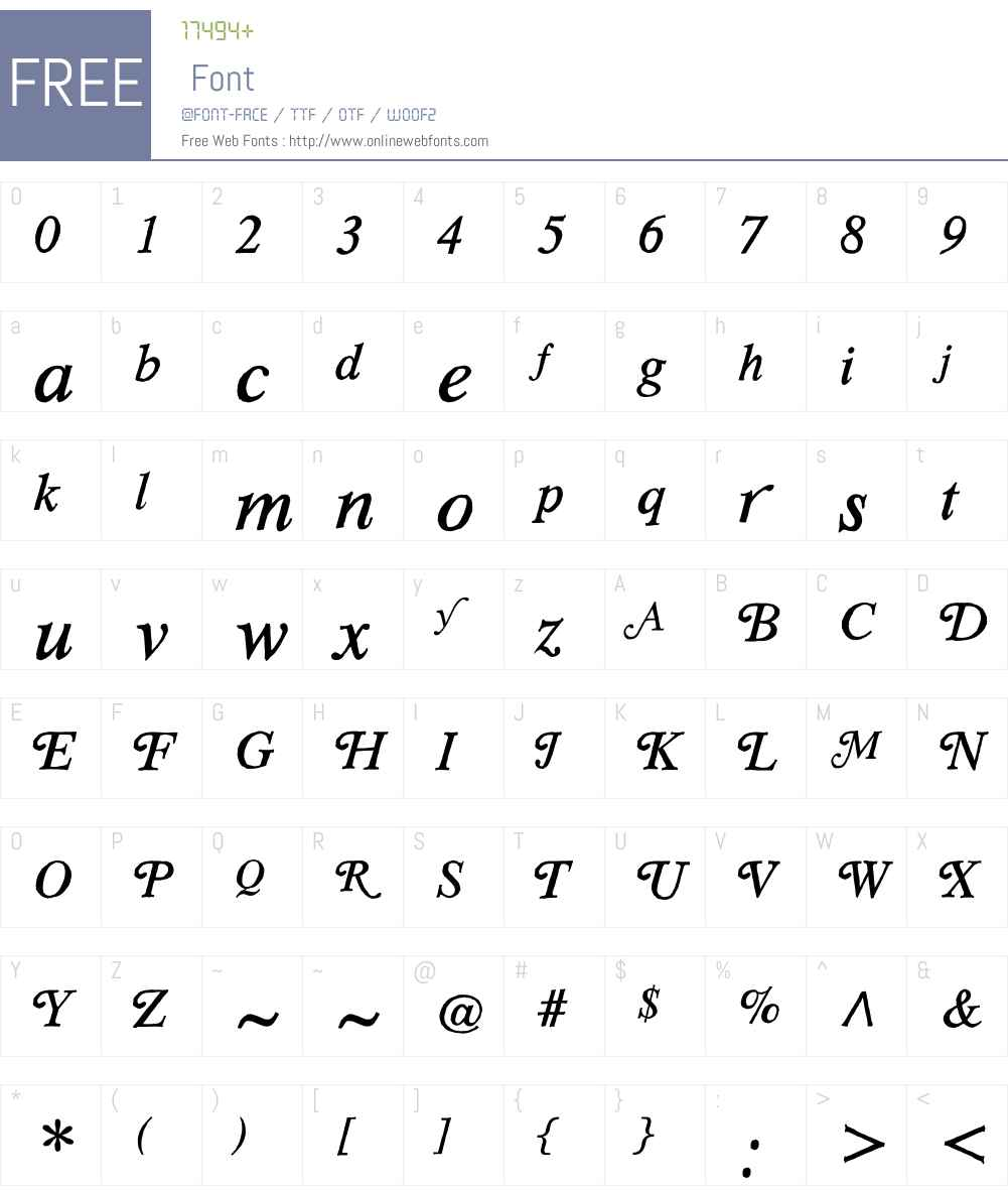 SoftTimesW01-Italic Font Screenshots