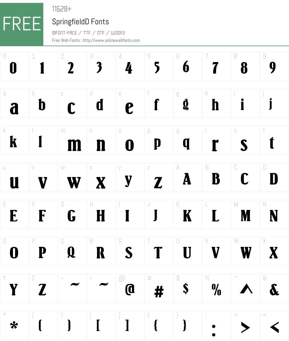 SpringfieldD Font Screenshots
